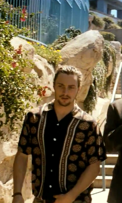 Aaron Taylor-Johnson with Urban Outfitters Stussy Bambooze Button-Down Shirt in Savages