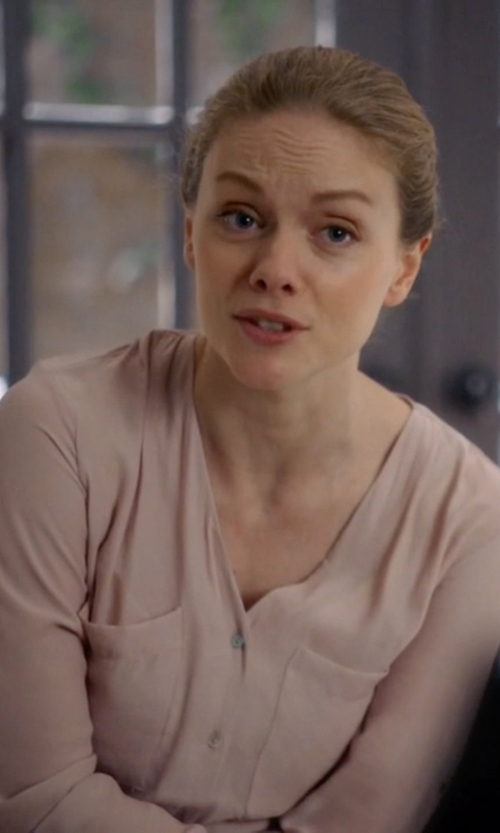 Christina Cole with RubyK Loose Button Down Shirt Blouse in Suits