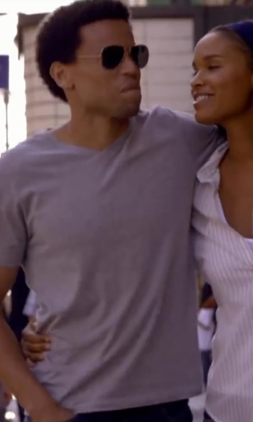 Michael Ealy with PANTONE COLORWEAR V NECK TEE in About Last Night