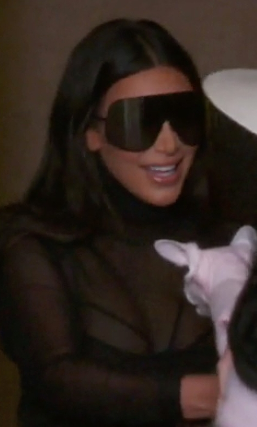 Kim Kardashian West with Rick Owens Oversized Shield Sunglasses in Keeping Up With The Kardashians