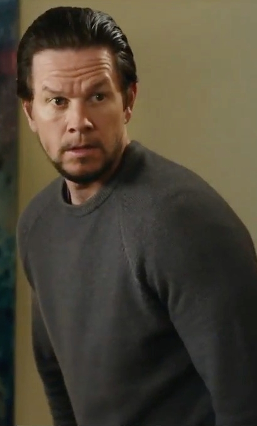 Mark Wahlberg with Neiman Marcus Mixed-Textured Crewneck Sweater in Daddy's Home 2