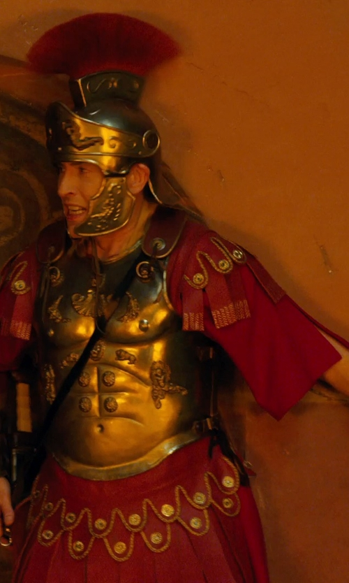 Steve Coogan with Marlene Stewart (Costume Designer) Custom Made Roman Commander Armor Costume (Octavius) in Night at the Museum: Secret of the Tomb