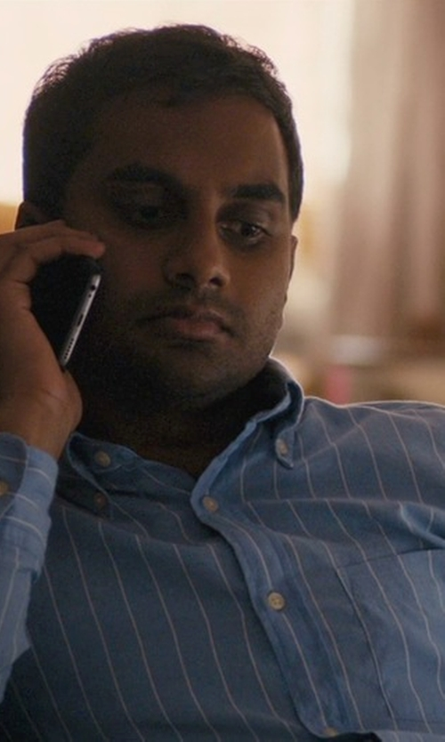 Aziz Ansari with Nautica Stripe Button Down Shirt in Master of None