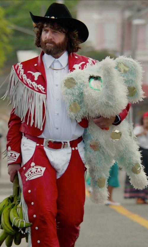 Zach Galifianakis with Jellycat Bashful Huge Puppy Stuffed Toy in Masterminds