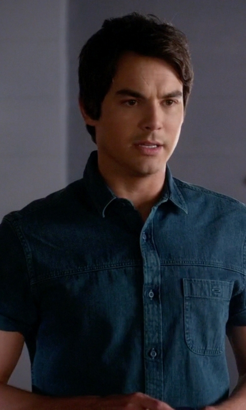 Tyler Blackburn with Topman Teal Grunge Denim Short Sleeve Casual Shirt in Pretty Little Liars
