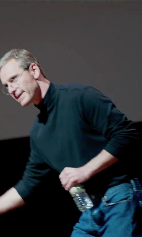 Michael Fassbender with Ralph Lauren Black Label Fine-Gauge Knit Turtleneck Sweater in Steve Jobs