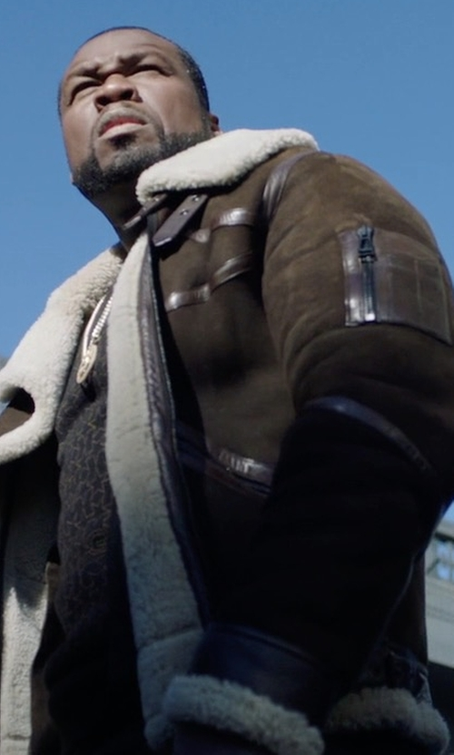 50 Cent with Belstaff Bridlington Shearling Jacket in Power