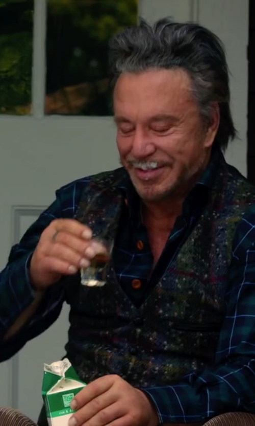 Mickey Rourke with Etro Floral Paisley Print Waistcoat in Ashby