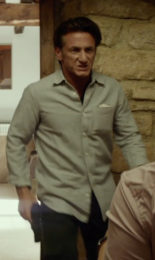 Sean Penn with John W. Nordstrom Linen Pocket Square in The Gunman