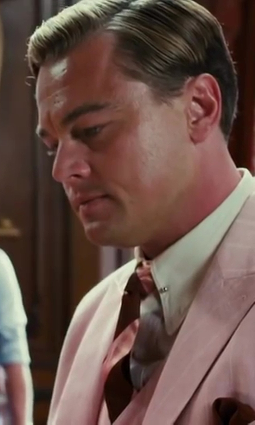 Leonardo DiCaprio with Catherine Martin (Costume Designer) and Brooks Brothers (Tailor) Cotton Non Iron Slim Fit Point Collar French Cuff Broadcloth Solid Dress Shirt in The Great Gatsby