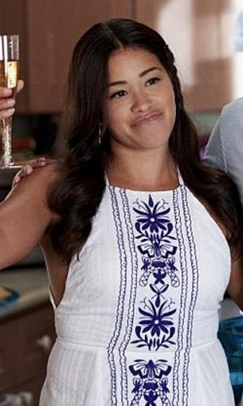 Gina Rodriguez with Asos Panel Embroidered High Neck Cross Back Beach Dress in Jane the Virgin