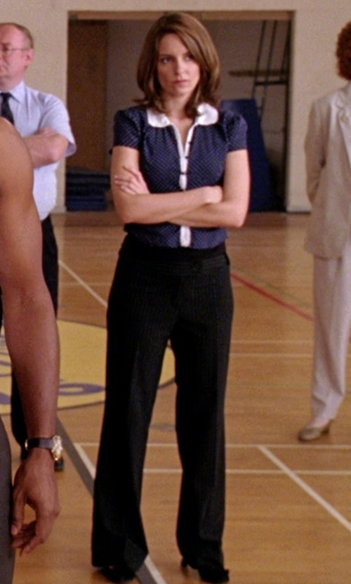 Tina Fey with Eileen Fisher Washable-Crepe Boot-Cut Pants in Mean Girls