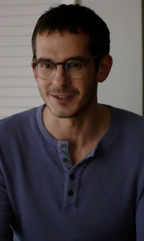 Tate Ellington with Neiman Marcus	  Waffle-Knit Long-Sleeve Henley Shirt in Quantico