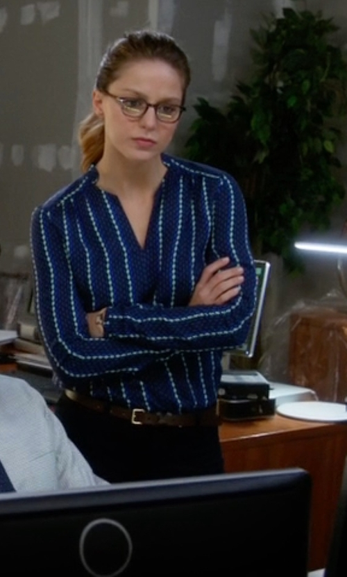 Melissa Benoist with Tommy Hilfiger Striped Split-Neck Blouse in Supergirl