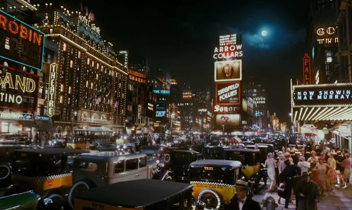 Unknown Actor with Time Square New York City, New York in The Great Gatsby