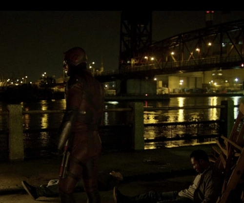 Charlie Cox with Roosevelt Island Bridge New York City, New York in Daredevil
