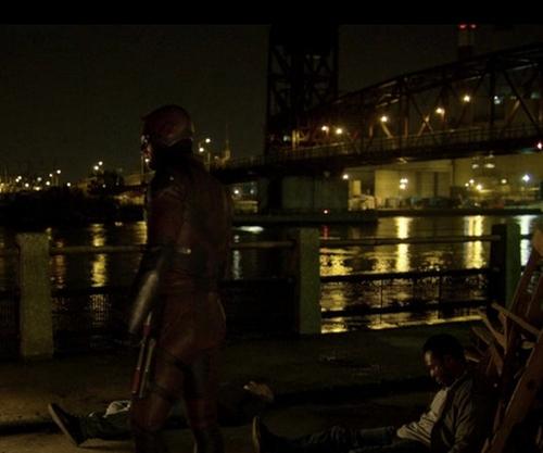 Charlie Cox with Roosevelt Island Bridge New York City, New York in Daredevil