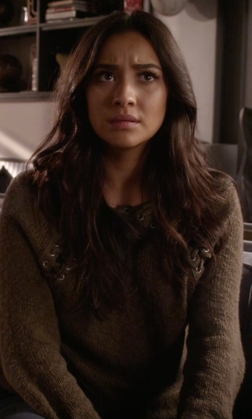 Shay Mitchell with Pam & Gela Lace Back Sweater in Pretty Little Liars