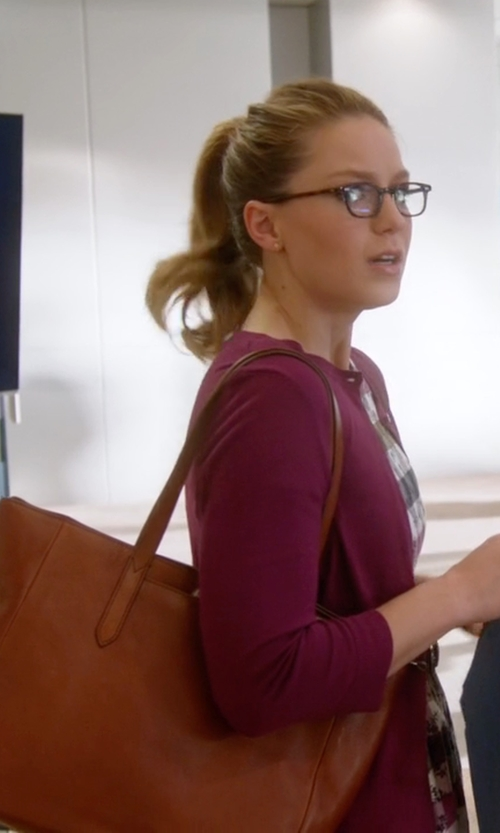 Melissa Benoist with Fossil Sydney Shopper Bag in Supergirl