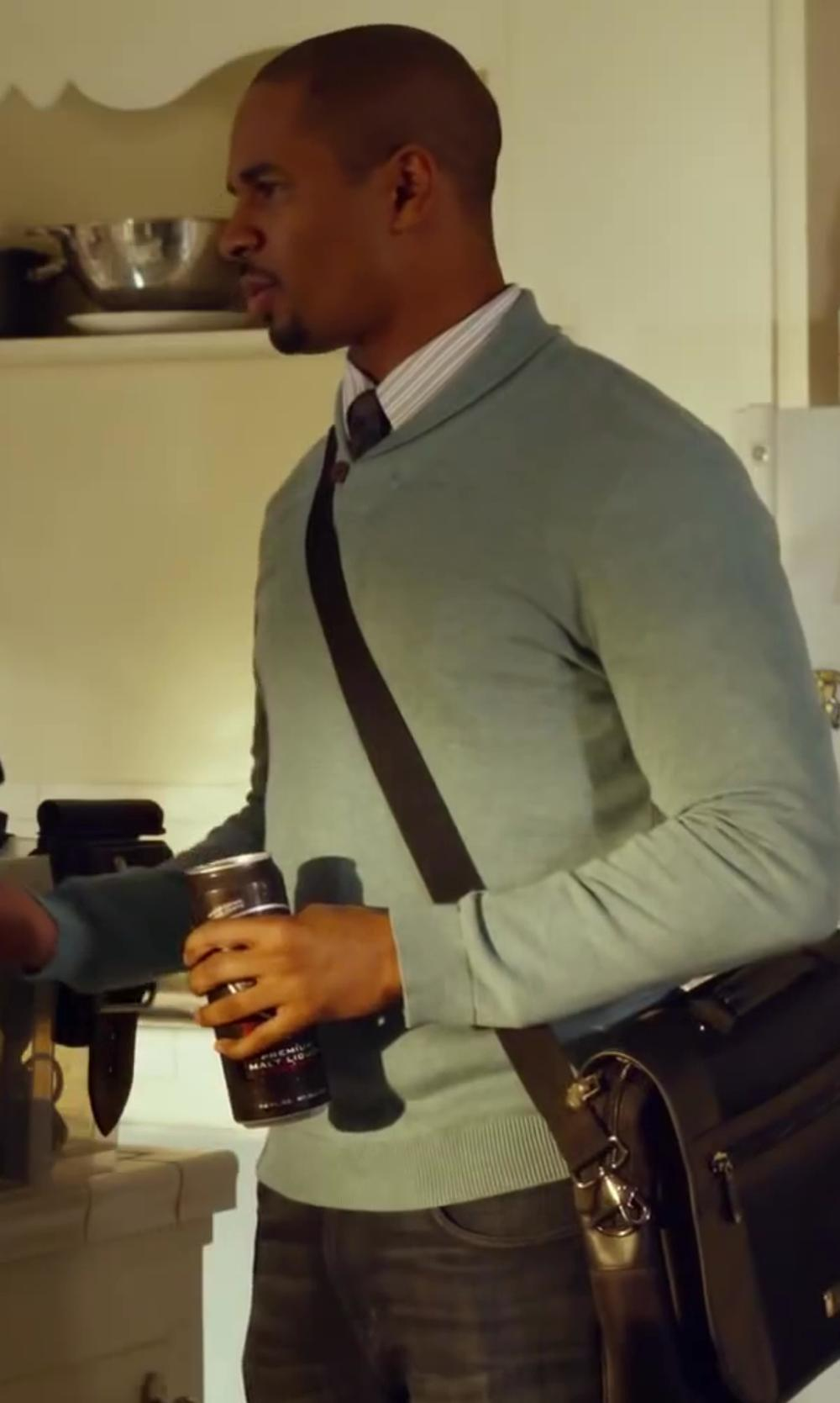 Damon Wayans Jr. with Diesel Black Gold Denim Pants in Let's Be Cops