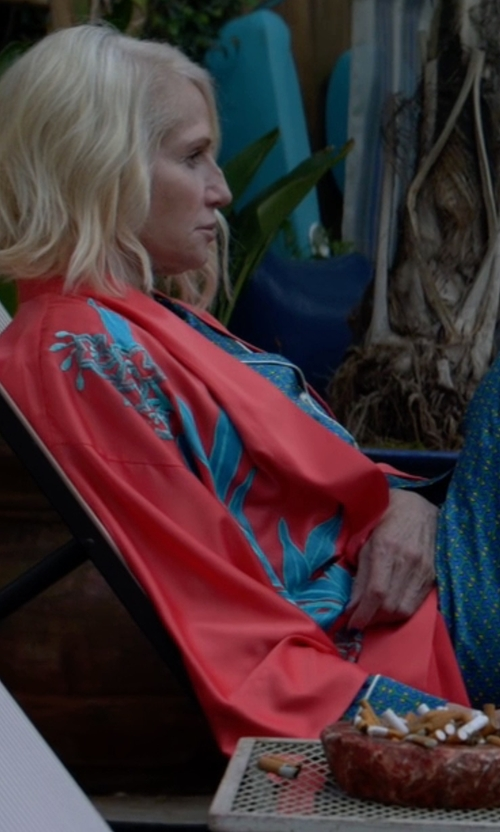 Ellen Barkin with Oscar de la Renta Signature Satin Long Robe in Animal Kingdom
