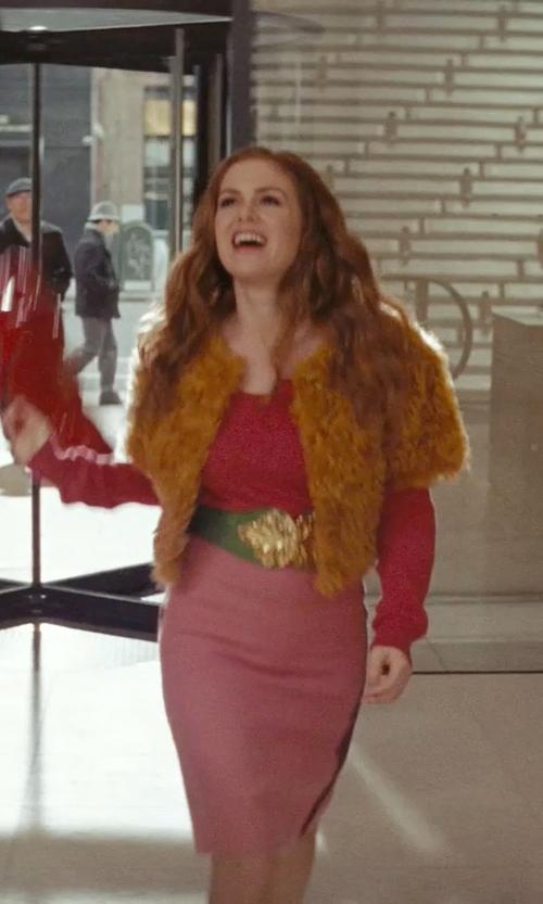 Isla Fisher with Fur Scarf & Shawl Angora Rabbit Fur Shrug in Confessions of a Shopaholic