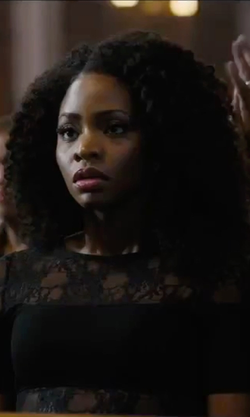 Teyonah Parris with French Connection Linear Wrap Dress in Chi-Raq