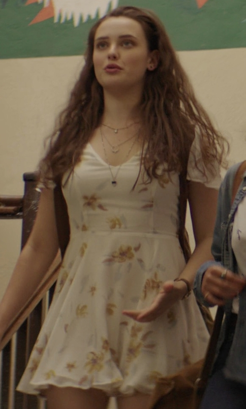 Katherine Langford with Kimchi Blue Sarah Flutter-Sleeve Chiffon Mini Dress in 13 Reasons Why