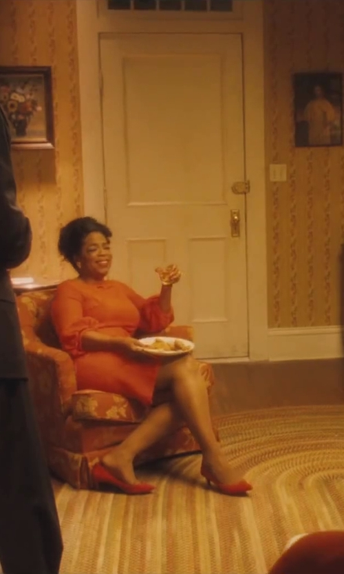 Oprah Winfrey with Prada Coral Suede Pointed Toe Kitten Pump Shoes in Lee Daniels' The Butler