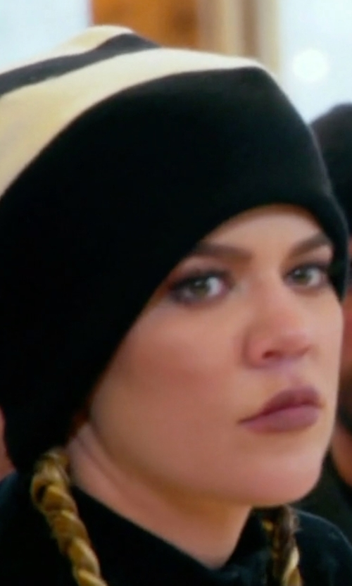 Khloe Kardashian with Michael Stars Seeded Ombre Beanie in Keeping Up With The Kardashians