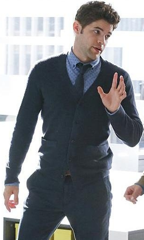 Jeremy Jordan with Roberto Collina V-Neck Cardigan in Supergirl