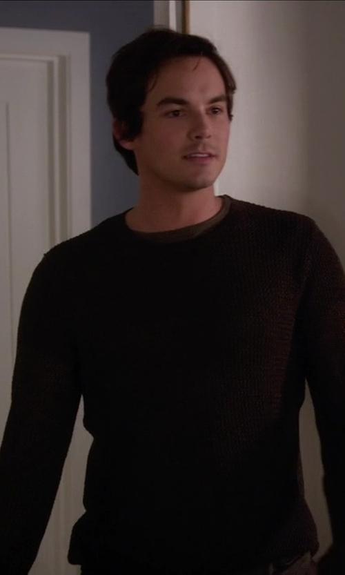 Tyler Blackburn with Zanone   Crew Neck Embossed Sweater   in Pretty Little Liars