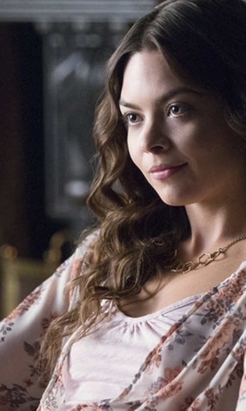 Scarlett Byrne with Mango Floral Printed Blouse in The Vampire Diaries