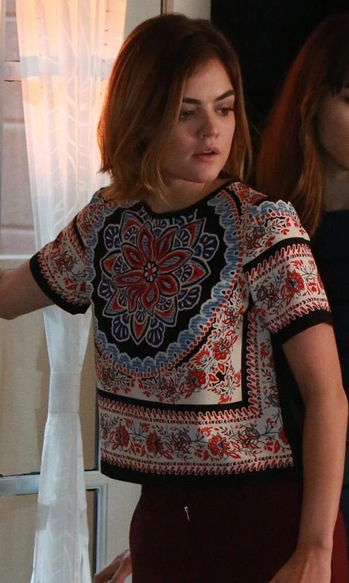 Lucy Hale with Topshop Scarf Print Placement Tee in Pretty Little Liars