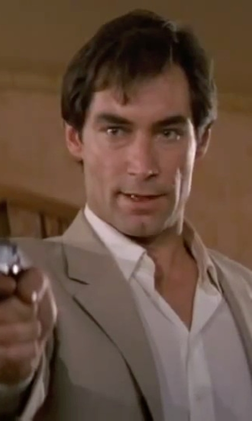 Timothy Dalton with Ike Behar Notch Lapel Wool Suit in The Living Daylights