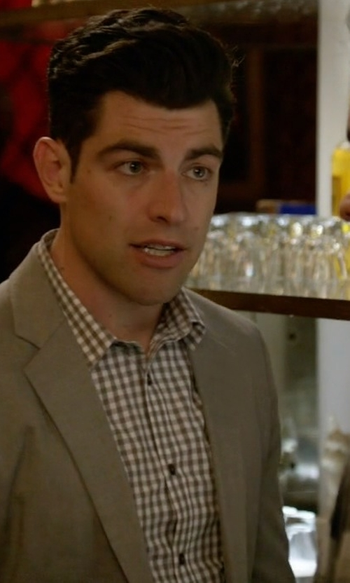 Max Greenfield with Canali Gingham Check Dress Shirt in New Girl