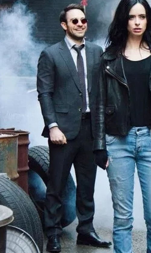 Charlie Cox with Boss Ryan/Win Extra Trim Fit Solid Wool Suit in Marvel's The Defenders