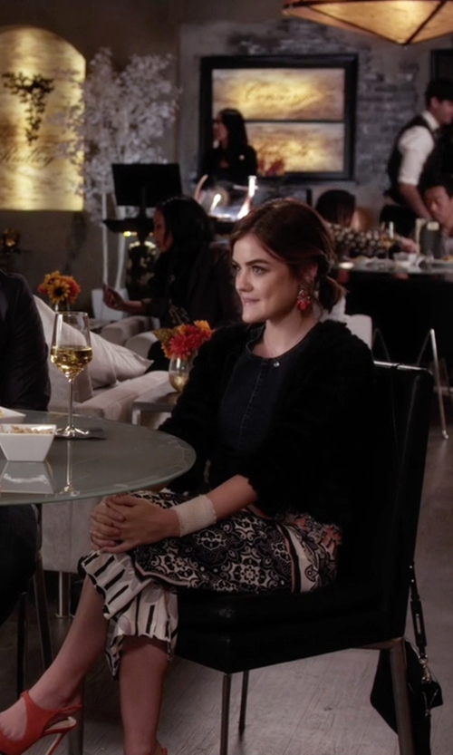 Lucy Hale with Topshop Tile Print Wide Leg Trousers in Pretty Little Liars