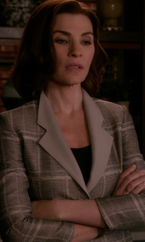 Julianna Margulies with Antonio Berardi Honeycomb Prince of Wales-Check Blazer in The Good Wife