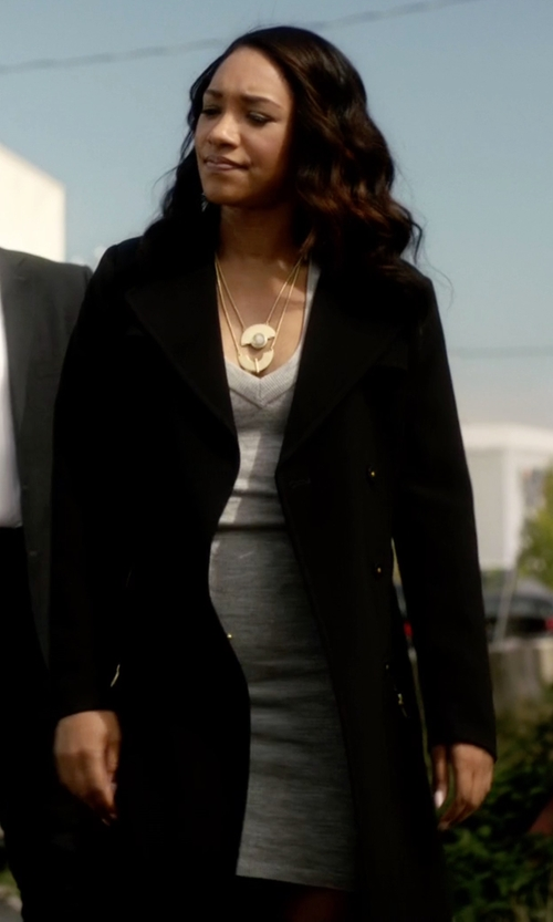 Candice Patton with Agnona Single Breasted Coat in The Flash