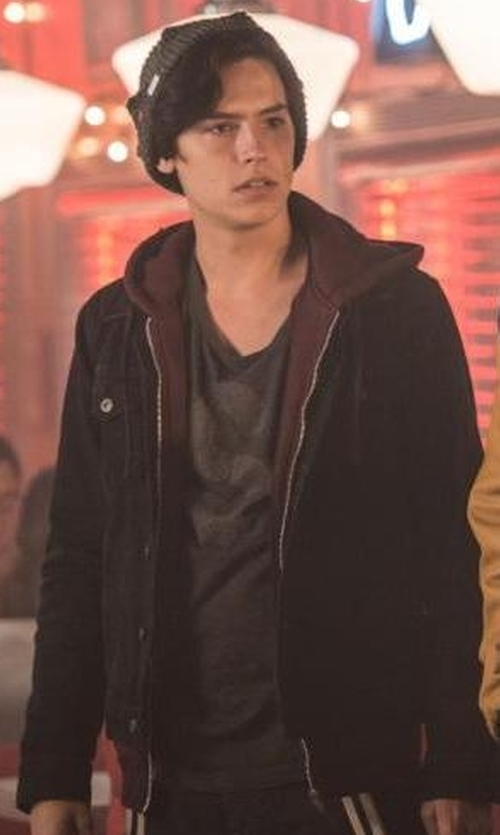 Cole Sprouse with Stussy Bonded Fleece Hoodie in Riverdale