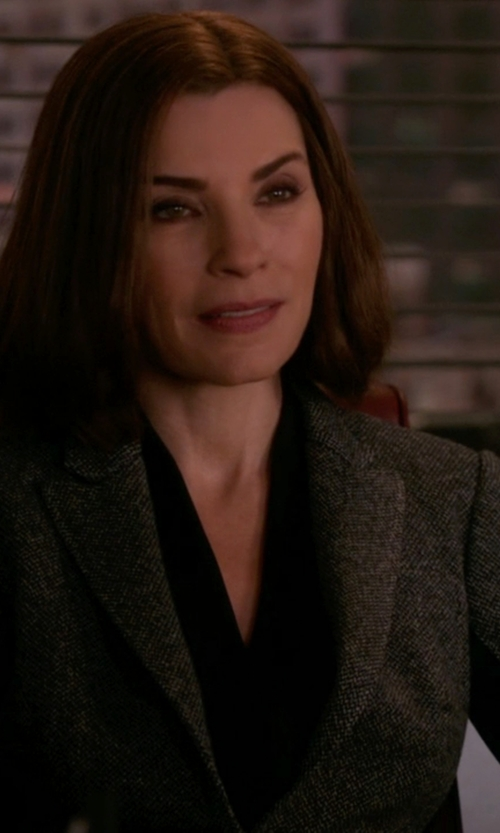 Julianna Margulies with Raey Longline Donegal-Tweed Blazer in The Good Wife