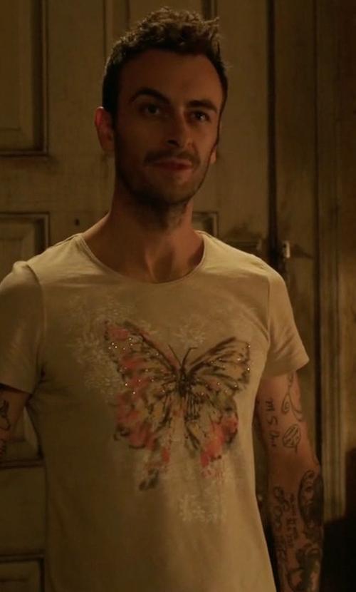 Joe Gilgun with Laura Scott Butterfly Embellished T-Shirt in Preacher