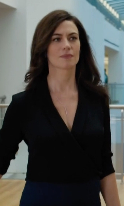 Maggie Siff with Theory Vihona Blouse in Billions