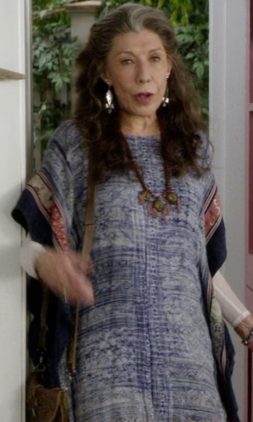 Lily Tomlin with Camilla Short Lace Up Caftan in Grace and Frankie