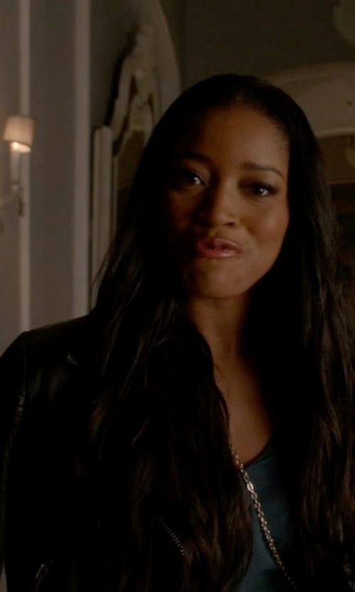 Keke Palmer with Topshop Sheepskin Leather Biker Jacket in Scream Queens