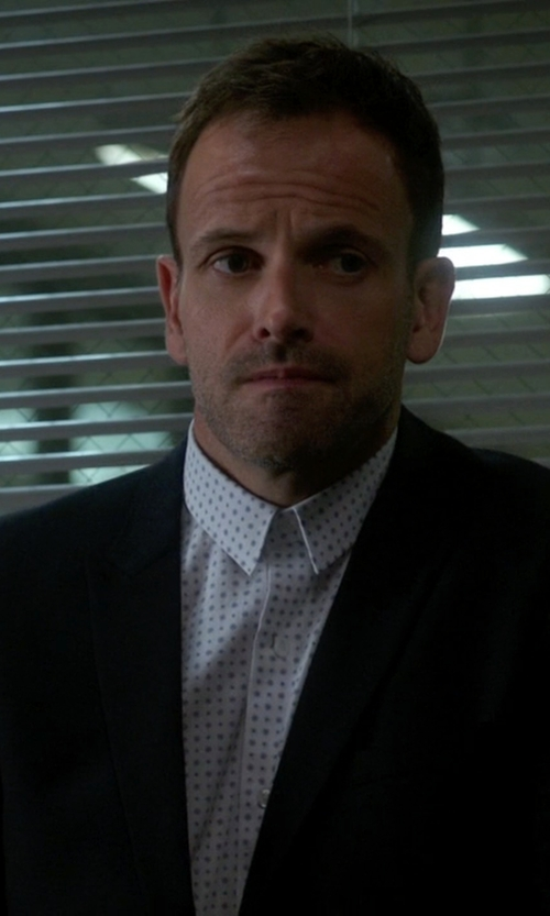 Jonny Lee Miller with Cego Custom Made Polka Dot Button Shirt in Elementary