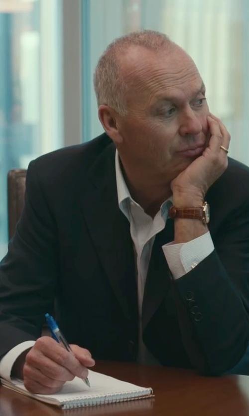 Michael Keaton with Armani Collezioni 2 Button Notch Lapel Suit in Spotlight