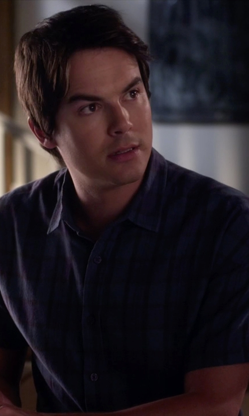 Tyler Blackburn with RVCA That'll Do Plaid Short Sleeve Shirt in Pretty Little Liars