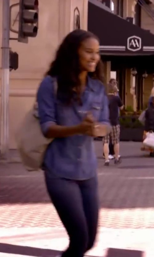 Joy Bryant with Current/Elliott The Perfect Denim Shirt in About Last Night